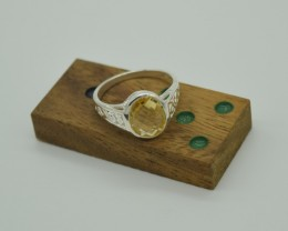 NATURAL UNTREATED CITRINE RING 925 STERLING SILVER JE854
