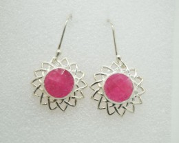 NATURAL TREATED RUBY EARRINGS 925 STERLING SILVER JE861