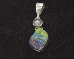 NATURAL TURQUOISE PENDANT  925 STERLING SILVER JE865