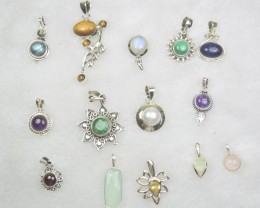 43 PCS WHOLESALE PARCEL 925 STERLING SILVER JEWELRY  NATURAL+UNTREATED GEMS