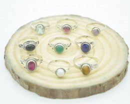 SET OF 9 RINGS 925 STERLING SILVER NATURAL UNTREATED GEMSTONE JE858