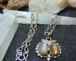 Collective pair Moon stone necklace HAND designs silver good purity 112.45