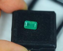 1.33ct Zambia Green Emerald Square Cut Lot V2177
