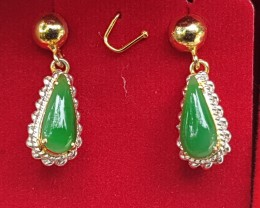 2.43cts, Burmese Jade,  High End, Pure Green, Smooth Color