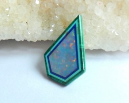 Natural Semiprecious Opal And Malachite Intarsia Cabochon bead (08110909)