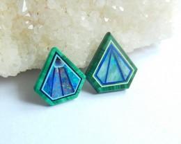 2pcs Natural Semiprecious Opal And Malachite Intarsia Cabochon bead (081109