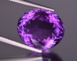No Reserve 11.5 crt oval cut deep color amethyst from Uruguay