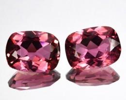 ~PAIR~ 2.67 Cts Natural Sweet Pink Tourmaline Cushion Cut Mozambique