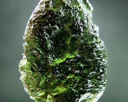 RARE Very Glossy Big Moldavite with  Intensive green color quality A+ CERTI