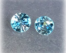 HANDSOME BLUE ZIRCONS - jewellery grade pair NR