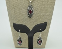 NATURAL RUBY EARRINGS+PENDANT SET 925 STERLING SILVER JE876