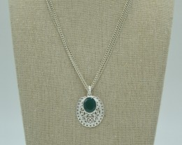 NATURAL UNTREATED GREEN EMERALD PENDANT 925 STERLING SILVER JE884