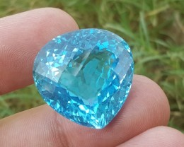 54.8 carats Heart shaped Bright Blue Topaz