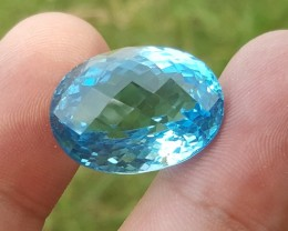 35.3 carats oval shaped Bright Blue Topaz