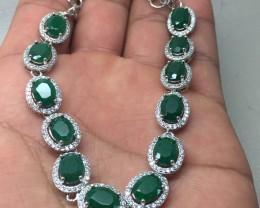 (B3) Gorgeous Nat 60.0tcw Emerald Wht CZ Bracelet