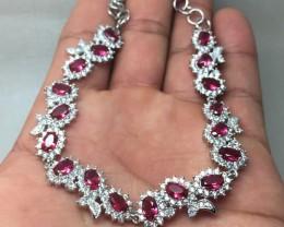 (B3) Dlightful Nat 38.0tcw. Pink Raspberry Rhodolite & Wht CZ Bracelet