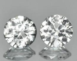 ~PAIR~ 1.47 Cts Natural Sparkling White Zircon 5mm  (Diamond Cut) Tanzania