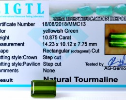 Certified|CIGTL| 10.875 Cts Museum Grade Green color Tourmaline Gem
