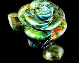 Genuine 670.00 Cts Amazing Flash Labradorite Carved Rose