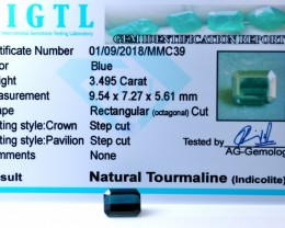 Certified|CIGTL| ~3.495 Cts Museum Grade Blue color Tourmaline Gem