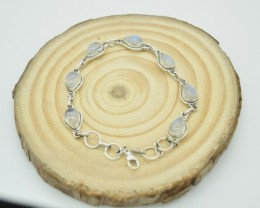 NATURAL UNTREATED RAINBOW MOONSTONE  BRACELET 925 STERLING SILVER JE892