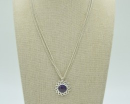 NATURAL UNTREATED AMETHYST PENDANT 925 STERLING SILVER JE894