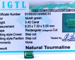 Certified|CIGTL| ~3.42 Cts Museum GradeGreen color Tourmaline Gem
