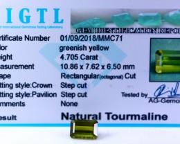 Certified|CIGTL| ~4.705 Cts Museum GradeGreen color Tourmaline Gem