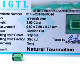 Certified|CIGTL| ~3.65 Cts Museum GradeGreen color Tourmaline Gem