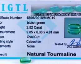 Certified|CIGTL| ~2.82 Cts Museum GradeGreen color Tourmaline Cab