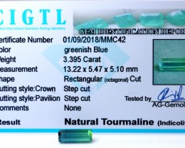Certified|CIGTL| ~3.395 Cts Museum Grade Blue color Tourmaline Gem