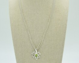 NATURAL UNTREATED PERIDOT PENDANT 925 STERLING SILVER JE898