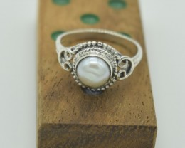 NATURAL UNTREATED PEARL RING 925 STERLING SILVER JE903