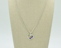 NATURAL UNTREATED AMETHYST PENDANT 925 STERLING SILVER JE904