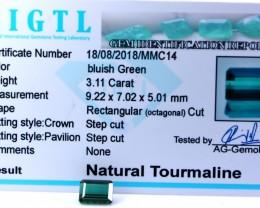 Certified|CIGTL| ~3.11 Cts Museum Grade Blue color Tourmaline Gem