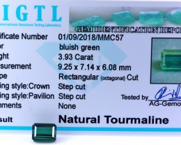 Certified|CIGTL| ~3.93Cts Museum Grade Green color Tourmaline Gem