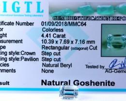 Certified CIGTL |4.41 Ct| Museum Grade |  Aquamarine Goshenite Gemstone