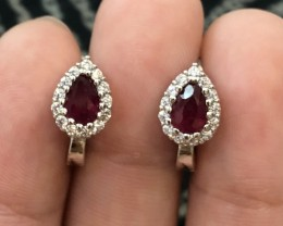 16.23ct Blood Red Ruby 925 Sterling Silver Earrings