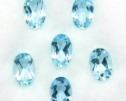 3.28 Cts Natural Nice Blue Aquamarine 6x4 mm Oval Cut 6 Pcs Parcel Brazil