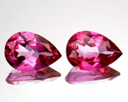 ~PAIR~ 4.30 Cts Candy Pink Natural Topaz 10x7 mm Pear Cut Brazil
