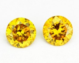 ~PAIR~ NATURAL SPARKLING YELLOW DIAMOND 0.18 Cts ROUND AFRICA