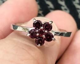 12.4ct Rhodolite Garnet 925 Sterling Silver Ring US 8