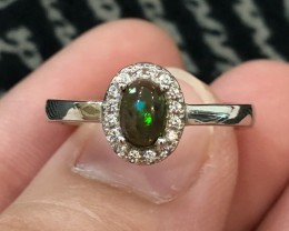 15.3ct Smoked Welo Opal Sterling 925 Silver Ring US 9