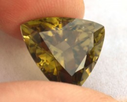 10.17 Carat Fatastic Trillion Cut Olive Green Tourmaline