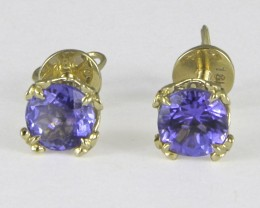 18k Gold  Earrings With 1.3 ct. Tanzanites.