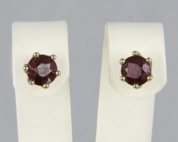 3.44 ct. Composite Ruby 18k Gold Studs.