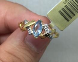 (B4)Dazzling Natural 0.53ct Genuine Blue Topaz & Daimond Ring 10K YG
