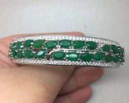 (B4) Stunning Nat 80.0tcw Emerald Bangle Untreated