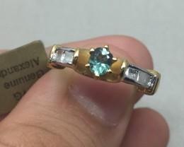 (B4) Certified $1300 Nat 0.33ct. Alexandrite Ring 10K YG 3.3gr
