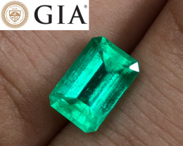 2.55 cts GIA Colombian Emerald - Origin Report - F1 Minor Oil $6500